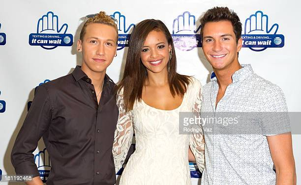 American Idol participants and singers Devin Velez Aubrey Cleland and Paul Jolley pose as American Idols and students demonstrate ATT Texting Driving...