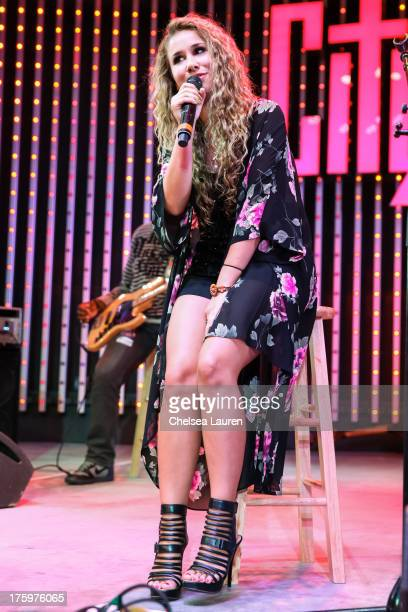 American Idol season 10 finalist Haley Reinhart performs at 5 Towers Outdoor Concert Arena on August 10 2013 in Universal City California