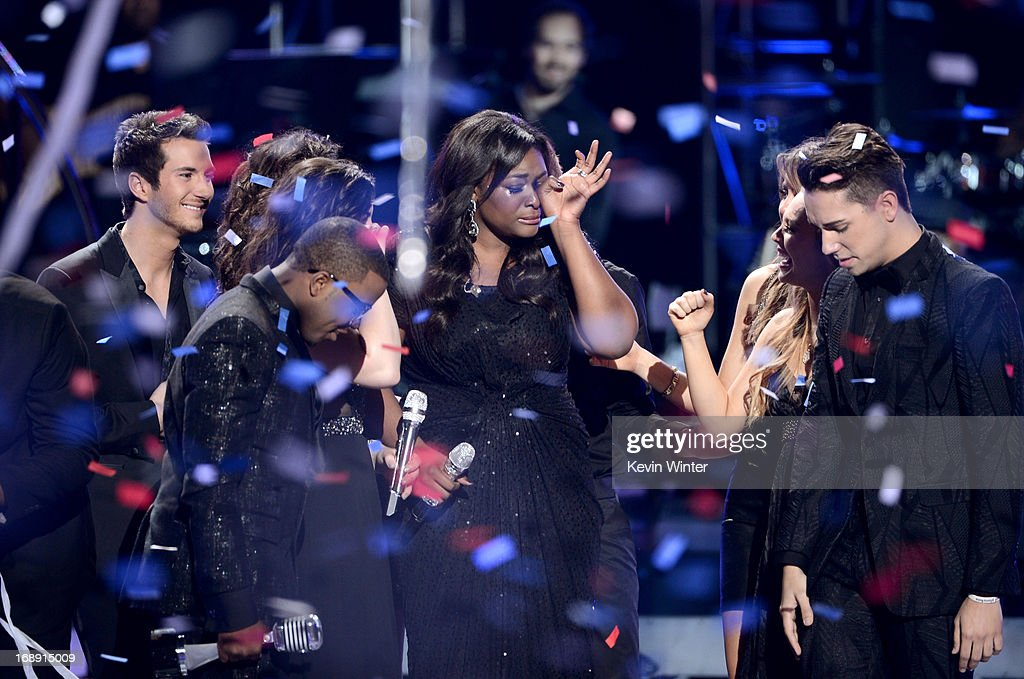 American Idol Season 12 Winner Candice Glover (C) is seen onstage during Fox's 'American Idol 2013' Finale Results Show at Nokia Theatre L.A. Live on May 16, 2013 in Los Angeles, California.