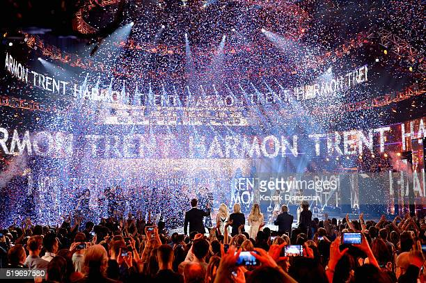 American Idol Season 15 winner Trent Harmon performs coronation song onstage during FOX's 'American Idol' Finale For The Farewell Season at Dolby...