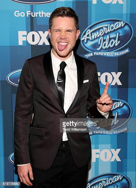 American Idol Season 15 winner Trent Harmon poses in the pressroom at FOX's 'American Idol' Finale For The Farewell Season Press Room at Dolby...