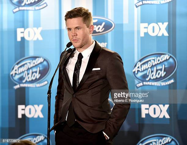 American Idol Season 15 winner Trent Harmon speaks onstage in the pressroom at FOX's 'American Idol' Finale For The Farewell Season at Dolby Theatre...