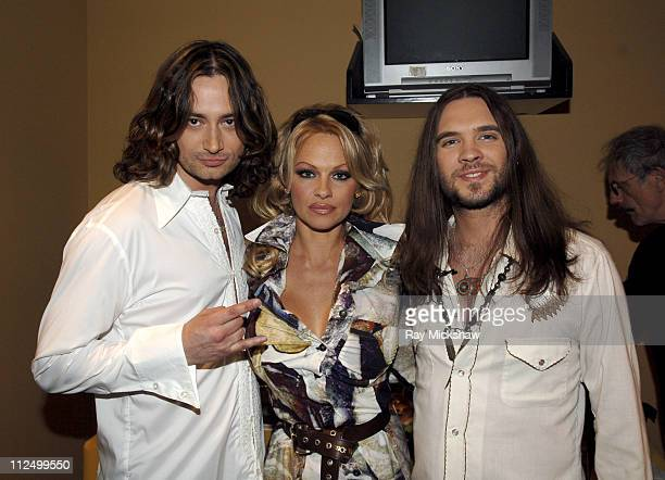 'American Idol' Season 4 Top 6 Finalists Constantine Maroulis from New York City New York and Bo Bice from Helena Alabama with Pamela Anderson