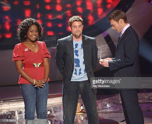 'American Idol' Season 5 Top 5 Finalist Paris Bennett from Fayettesville Georgia Elliott Yamin from Richmond Virginia and Ryan Seacrest host...