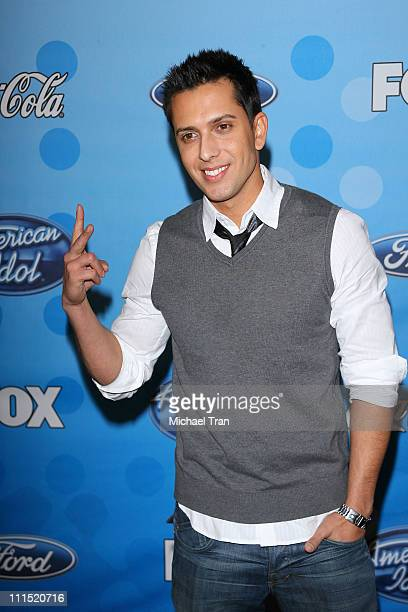 American Idol top 12 finalist David Hernandez arrives at Fox's 'American Idol' meet the top 12 contestants party held at the Pacific Design Center on...