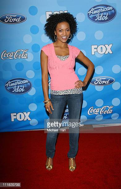 American Idol top 12 finalist Syesha Mercado arrives at Fox's 'American Idol' meet the top 12 contestants party held at the Pacific Design Center on...