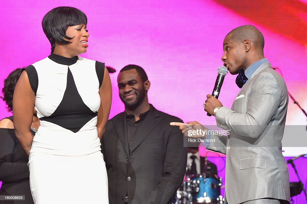 American Idol winner and Grammy-nominated artist Fantasia and host Kirk Franklin speak onstage at the Super Bowl Gospel 2013 Show at UNO Lakefront Arena on February 1, 2013 in New Orleans, Louisiana.