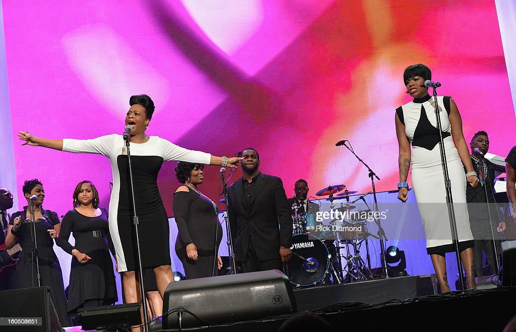 American Idol winner and Grammy-nominated artist Fantasia (R) and mother Diana Barrino Barber perform at the Super Bowl Gospel 2013 Show at UNO Lakefront Arena on February 1, 2013 in New Orleans, Louisiana.