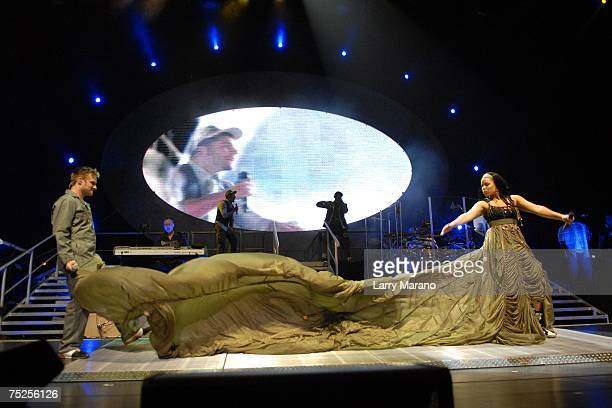 'American Idol' winner Jordin Sparks performs with former contestant Blake Lewis live at The Bank Atlantic Center during opening night of the Idol...