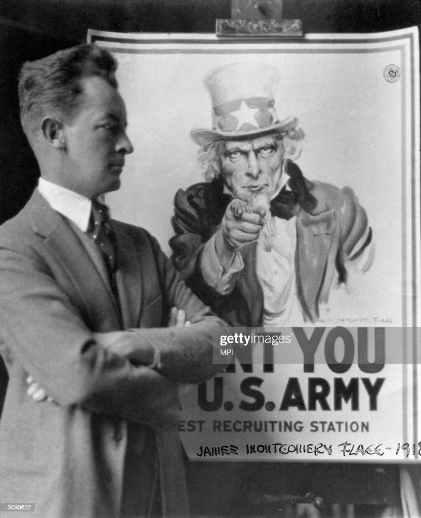 American illustrator James Montgomery Flagg with his famous recruiting poster featuring Uncle Sam