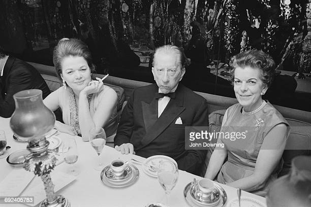 American industrialist J Paul Getty at Annabel's with Mrs Dino Da Ponte and Hermione Lady Ranfurly for Susan Da Ponte's comingout party London 15th...