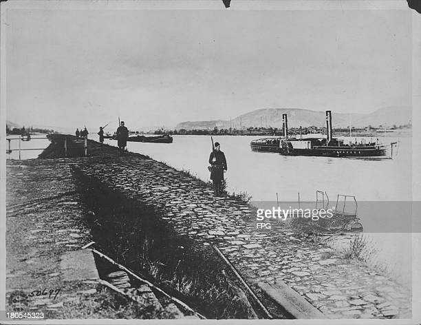 American infantrymen or doughboys patrolling the banks of the Rhine river part of the American 42nd 'Rainbow' Division Germany circa 19141918