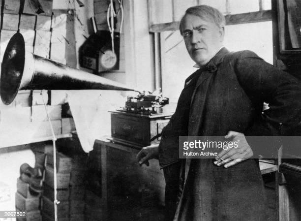 Thomas Alva Edison with the his invention the phonograph