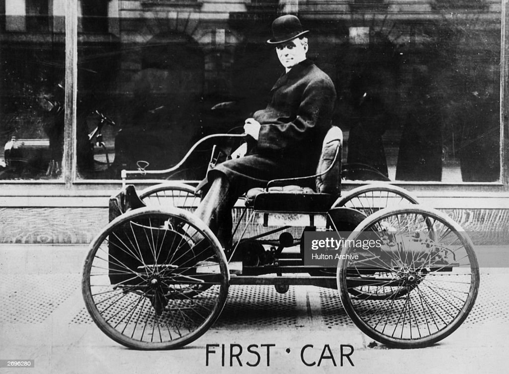 American automobile engineer and manufacturer Henry Ford (1863 - 1947) in his first car & First Car Pictures | Getty Images markmcfarlin.com