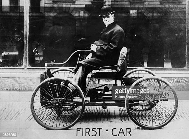 American automobile engineer and manufacturer Henry Ford in his first car built in 1896 Dearborn Michigan