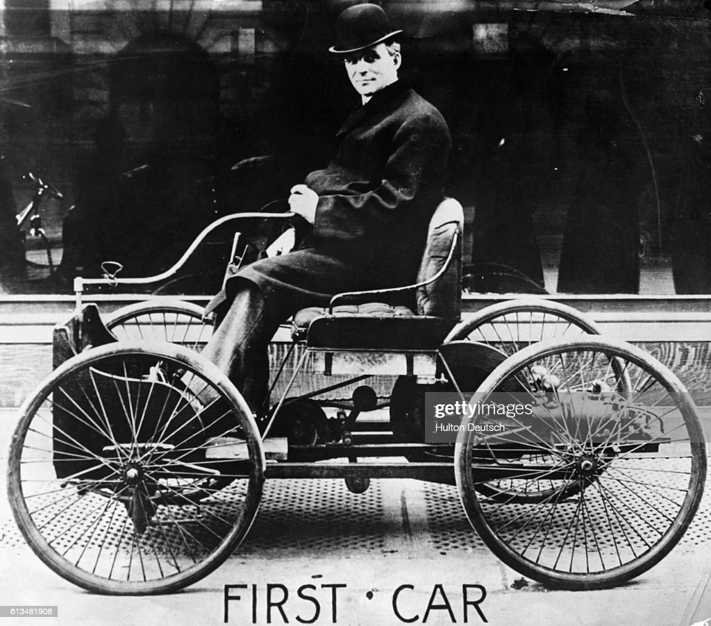 Henry Ford sits in his first automobile the Quadricycle in 1896. The machine & Henry Ford in his First Car Pictures | Getty Images markmcfarlin.com