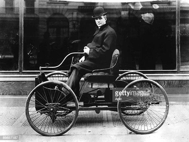 Henry Ford american industrialist pioneer of american car industry driving his Quadricycle 1896