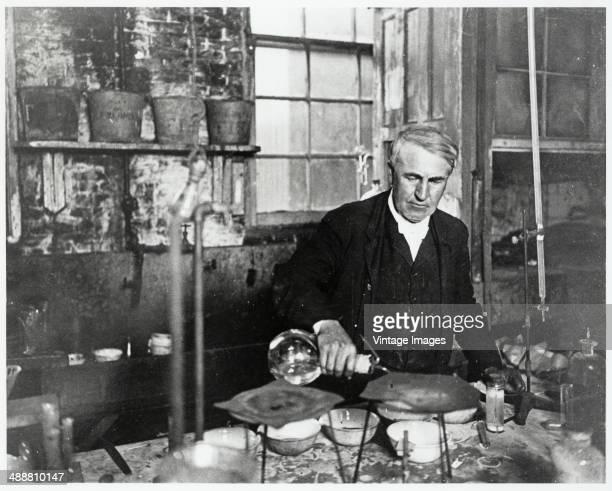 American inventor Thomas Alva Edison in a laboratory circa 1900