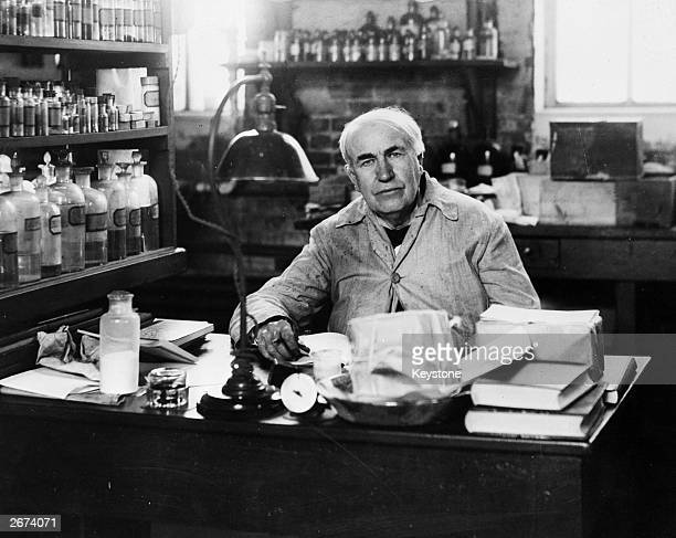 American inventor Thomas Alva Edison in his laboratory at Orange New Jersey