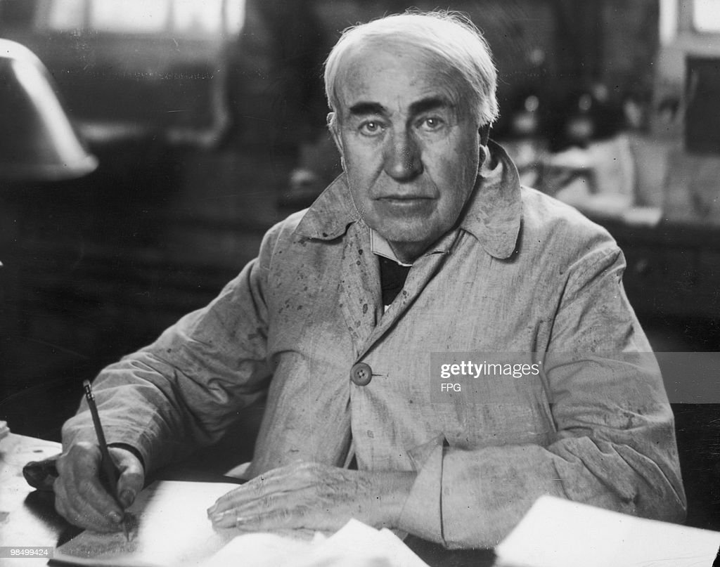American inventor <a gi-track='captionPersonalityLinkClicked' href=/galleries/search?phrase=Thomas+Edison&family=editorial&specificpeople=69990 ng-click='$event.stopPropagation()'>Thomas Edison</a> (1847 - 1931) in his laboratory at West Orange, New Jersey, circa 1920.