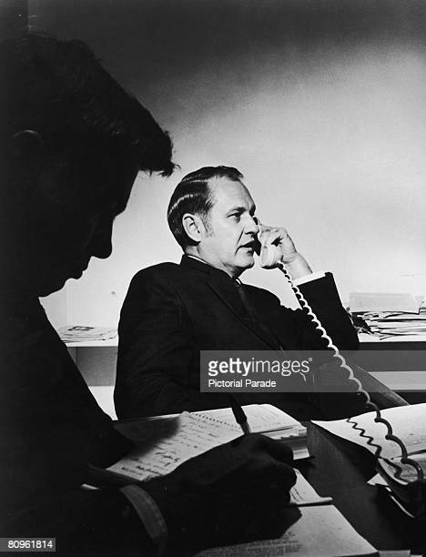 American investigative journalist Jack Anderson in his office shortly after his syndicated column had revealed secret American policy decisionmaking...