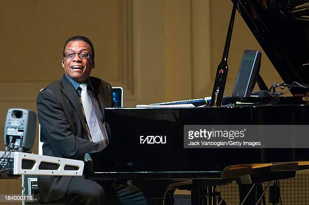 American Jazz composer and musician Herbie Hancock leads his band from the piano and keyboards at the JVC Jazz Festival concert 'An Evening with...