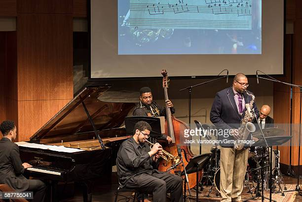 American Jazz composer and musician Jimmy Greene plays tenor saxophone as he leads his quintet during an 'MSM Student Project in Performance 'The...