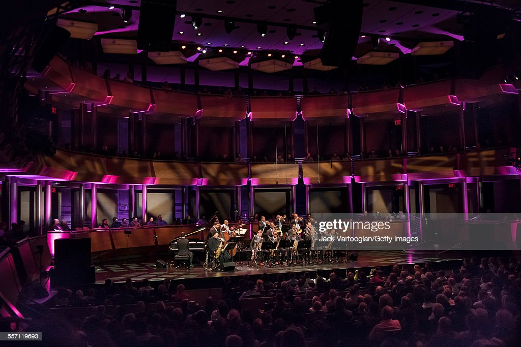 American Jazz composer and musician Wayne Shorter plays saxophone as he performs with the Jazz at Lincoln Center Orchestra on the first evening of...