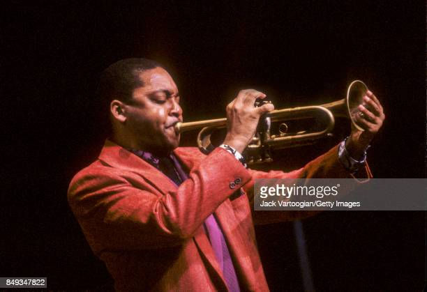 American Jazz composer and musician Wynton Marsalis plays trumpet as he performs during a Marsalis Family concert at Lincoln Center's Alice Tully...