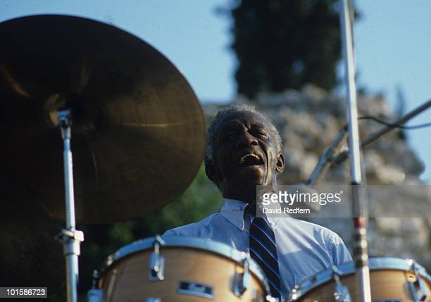 American drummer Art Blakey performs on stage at the Nice Jazz Festival held in Nice France in July 1982