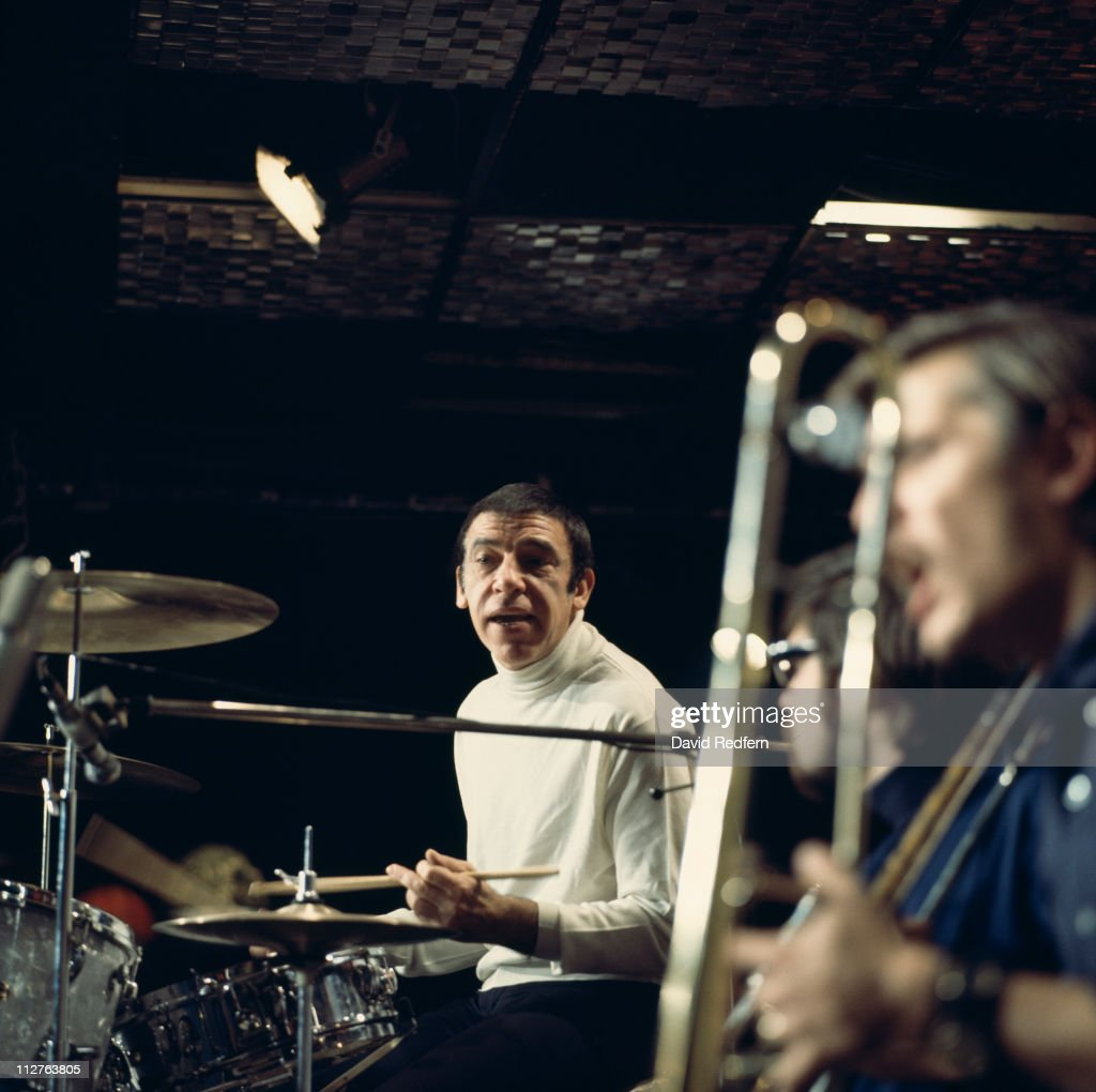 Buddy Rich (1917-1987), U.S. jazz drummer and band leader, playing the drums during a live concert performance on stage at the Ronnie Scott's in London, England, Great Britain, 9 November 1969.