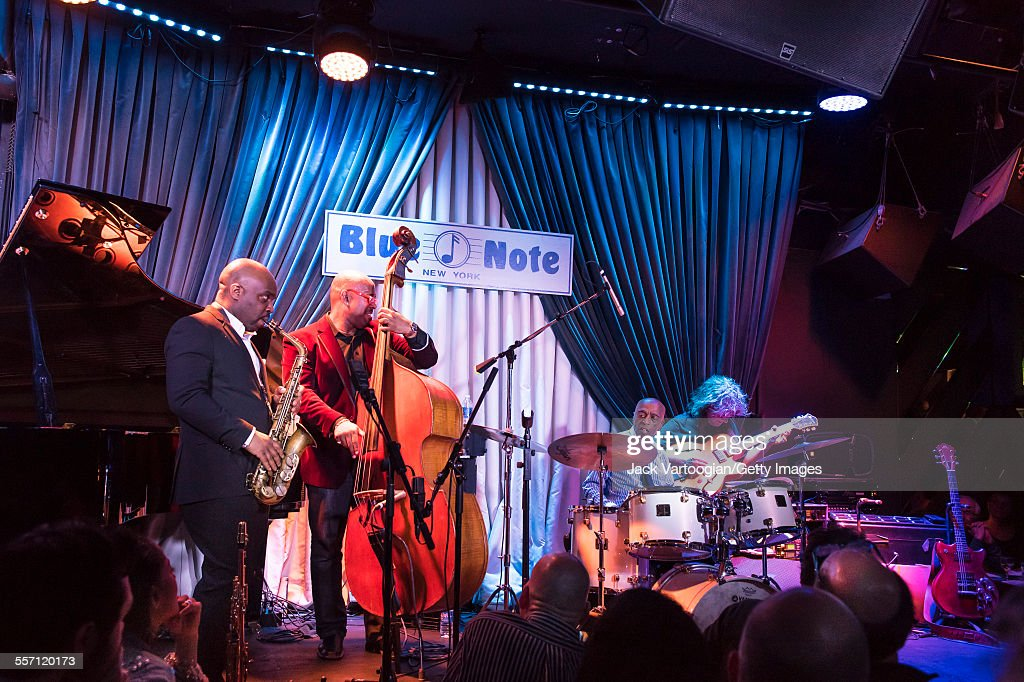 American Jazz drummer <a gi-track='captionPersonalityLinkClicked' href=/galleries/search?phrase=Roy+Haynes&family=editorial&specificpeople=873496 ng-click='$event.stopPropagation()'>Roy Haynes</a> leads his Fountain of Youth Band on his 90th birthday concert at the Blue Note nightclub, New York, New York, March 13, 2015. With him are Jaleel Shaw on alto saxophone and special guests <a gi-track='captionPersonalityLinkClicked' href=/galleries/search?phrase=Christian+McBride&family=editorial&specificpeople=2558745 ng-click='$event.stopPropagation()'>Christian McBride</a> on upright acoustic bass and <a gi-track='captionPersonalityLinkClicked' href=/galleries/search?phrase=Pat+Metheny&family=editorial&specificpeople=543149 ng-click='$event.stopPropagation()'>Pat Metheny</a> on guitar at the Blue Note.