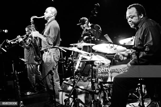 American Jazz group the Watts Project performs onstage at Le Poisson Rouge nightclub New York New York January 10 2009 Pictured are from left Terence...