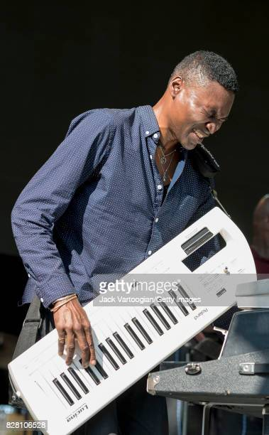 American Jazz musican Mark Adams plays melodica with the Roy Ayers Quartet during a performance at Central Park SummerStage New York New York July 16...