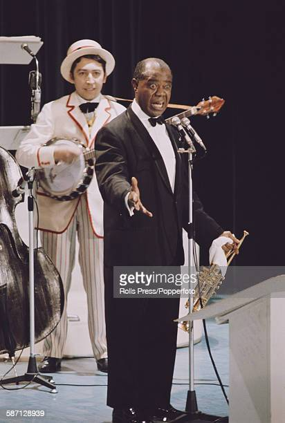 American jazz musician and singer Louis Armstrong performs live on stage at the Sanremo Music Festival in Sanremo Casino Italy in 1968