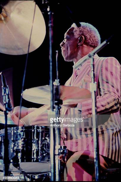 American jazz musician Art Blakey plays drums as he performs on stage during the 'One Night With Blue Note' concert at Town Hall New York New York...
