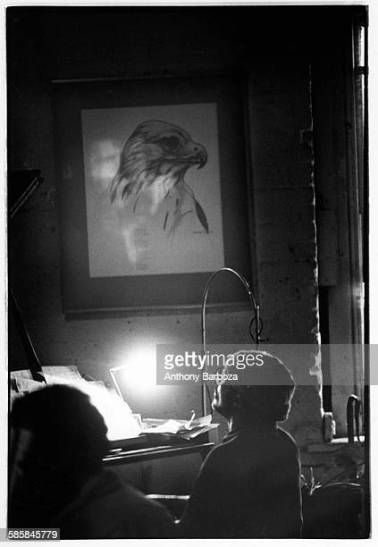 American jazz musician Cecil Taylor plays piano during a rehearsal in his loft New York 1980s