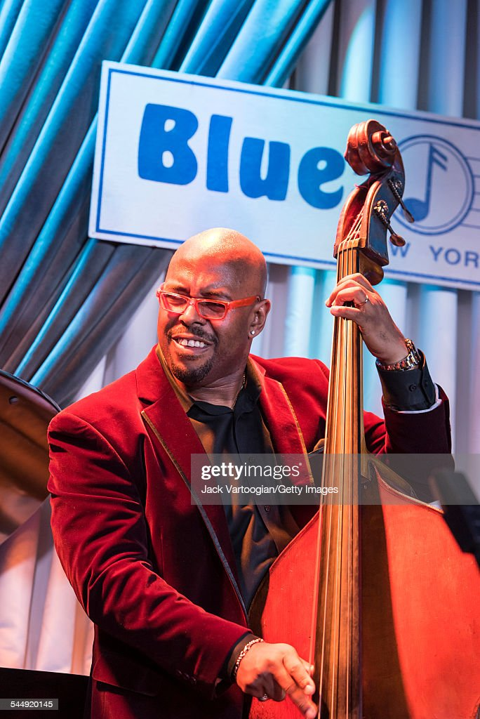 American Jazz musician <a gi-track='captionPersonalityLinkClicked' href=/galleries/search?phrase=Christian+McBride&family=editorial&specificpeople=2558745 ng-click='$event.stopPropagation()'>Christian McBride</a> plays upright acoustic bass as he performs onstage with Roy Haynes and his Fountain of Youth Band on Haynes' 90th birthday at the Blue Note, New York, New York, March 13, 2015.