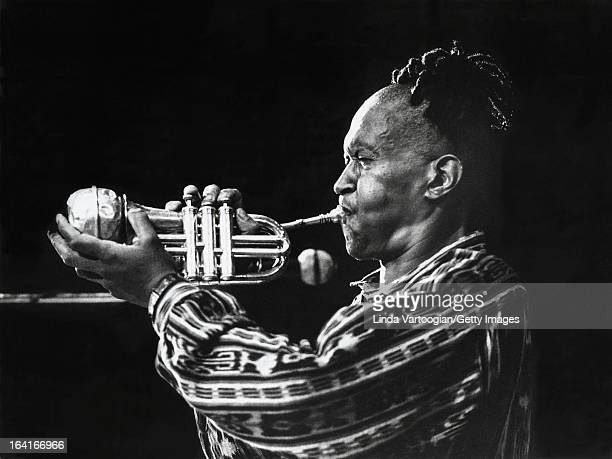 American jazz musician Don Cherry plays a pocket trumpet at a World Music Institute 'Improvisations' concert at Symphony Space New York New York June...
