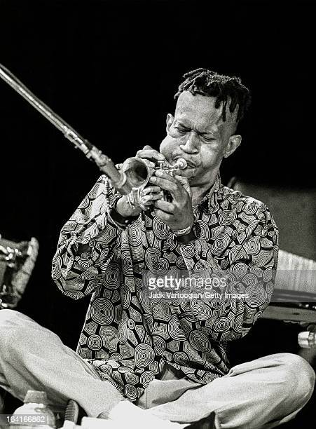 American jazz musician Don Cherry plays a pocket trumpet at the World Music Institute's 'World of Percussion' concert at Symphony Space New York New...