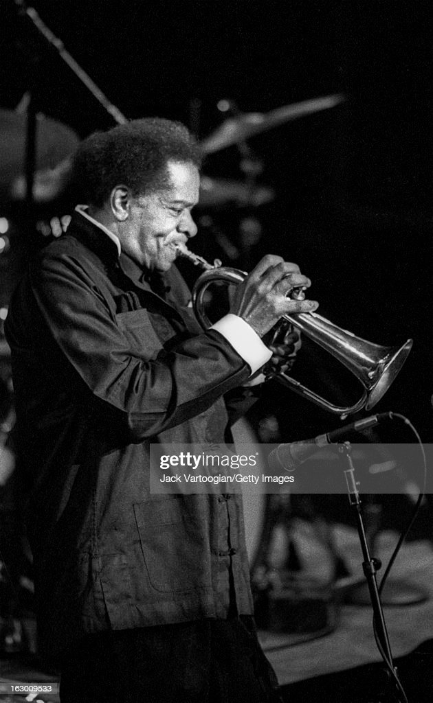 American jazz musician <a gi-track='captionPersonalityLinkClicked' href=/galleries/search?phrase=Donald+Byrd&family=editorial&specificpeople=1551105 ng-click='$event.stopPropagation()'>Donald Byrd</a> (born Donaldson Toussaint L'Ouverture Byrd, 1932 - 2013) performs on fluegelhorn at the JVC Jazz Festival's 'The Incredible School of Blakey: A Tribute to Art Blakey from His Kids' concert at Lincoln Center's Avery Fisher Hall, Lincoln Center, New York, New York, June 23, 1993.