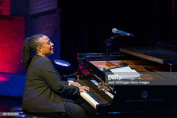 American Jazz musician Geri Allen plays piano as she leads her trio in 'A Conversation with Mary Lou Geri Allen Celebrates Mary Lou Williams' a...