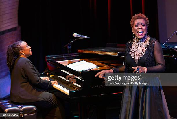 American Jazz musician Geri Allen plays piano as she leads her trio and vocalist Carmen Lundy in 'A Conversation with Mary Lou Geri Allen Celebrates...