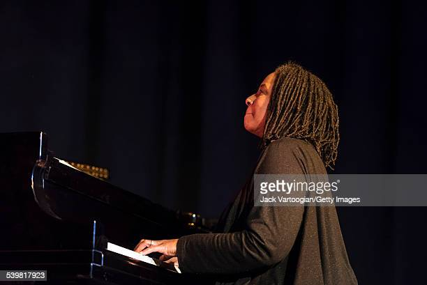 American Jazz musician Geri Allen plays piano with the David Murray Trio during a NYC Winter JazzFest 2015 performance at Greenwich Village's Minetta...