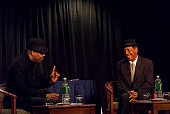 American Jazz musician Greg Osby interviews composer and musician Ornette Coleman during a live Downbeat interview during the 34th Annual...