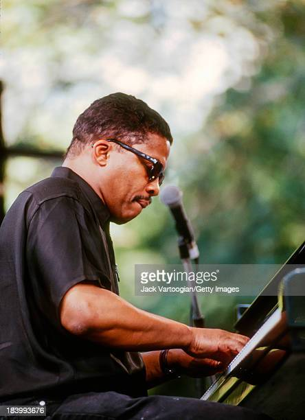 American Jazz musician Herbie Hancock leads his quartet from the piano at the Village Jazz Festival Washington Square Park Greenwich Village New York...