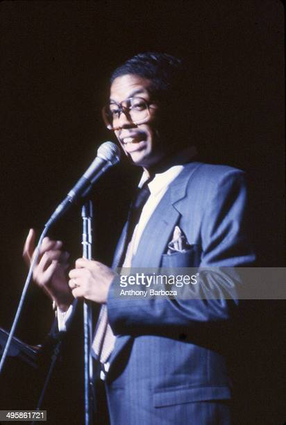 American jazz musician Herbie Hancock on stage during the 'One Night With Blue Note' concert at Town Hall New York New York February 22 1985