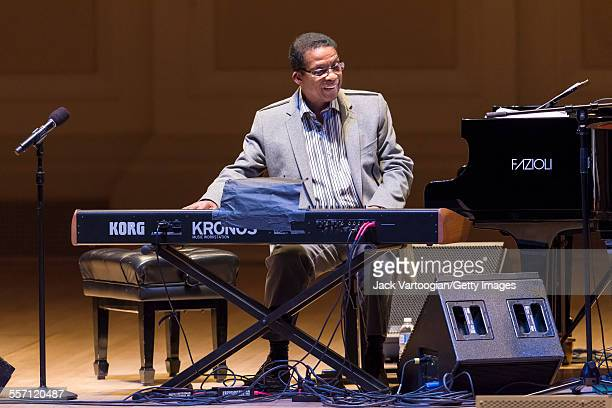 American Jazz musician Herbie Hancock performs at a duo piano concert at Carnegie Hall New York New York April 9 2015