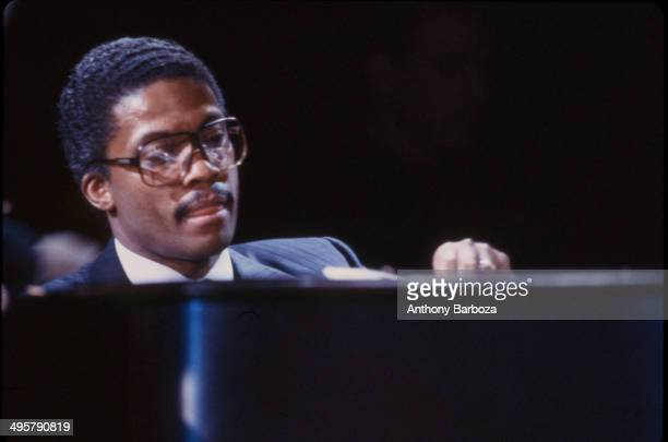 American jazz musician Herbie Hancock plays piano as he performs on stage during the 'One Night With Blue Note' concert at Town Hall New York New...