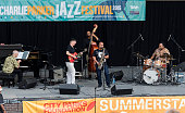American Jazz musician Jeff 'Tain' Watts plays drums as he performs with his band the Jeff Watts 5 on the second day of the 23rd Annual Charlie...